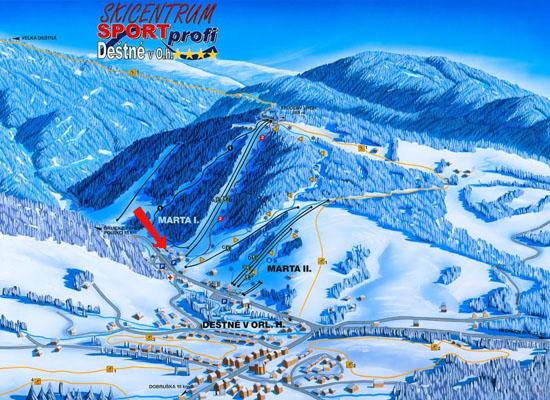 Stoki narciarskie Destne (grafika – www.skicentrumdestne.cz)
