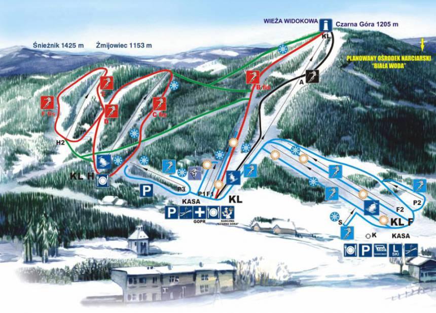 Stoki narciarskie Czarna Góra (grafika – czarnagora.pl)