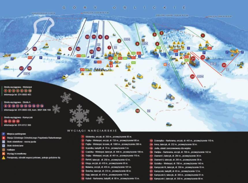 Zieleniec – stoki narciarskie (grafika – zieleniec.pl)